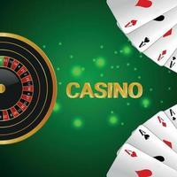 jogo de azar de cassino com roleta, cartas de baralho em fundo criativo vetor