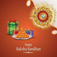 feliz festival hindu indiano raksha bandhan com rakhi de cristal criativo e presentes vetor