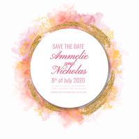 Vector Aguarela e Glitter Save the Date Template