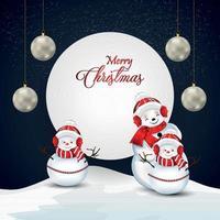 cartão de convite de feliz natal com ilustração vetorial criativa vetor
