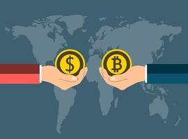 conceito de moeda de negócios. Troque moedas de dólar em bitcoin com as mãos no mapa de fundo. Ilustrador de vetor