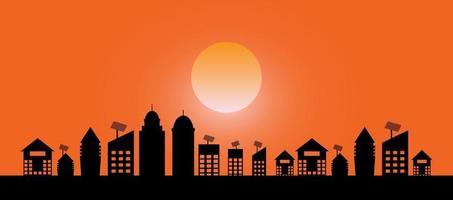 paisagem noturna vista da cidade com fundo do pôr do sol vetor