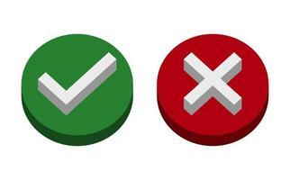 símbolo sim ou não ícone, verde, 3d, vermelho sobre fundo branco. Ilustração em vetor