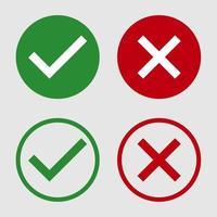 símbolo sim ou não ícone, verde, vermelho sobre fundo branco. Ilustração em vetor