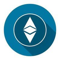 ethereum icon simbol, logotipo da moeda digital com sombra longa preta, estilo de design simples. Ilustração em vetor