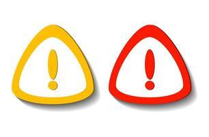 símbolo de ponto de exclamação, advertindo um ícone perigoso na ilustração branca transparente. vetor