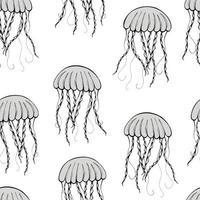 padrão sem emenda com silhueta de água-viva desenhada de mão em fundo branco. ideal para têxteis, embrulho, papel de parede. vetor