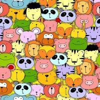conjunto de cabeças de animais engraçados de ilustrações vetoriais. elemento de design, cartões com rostos desenhados à mão de animais selvagens em desenhos animados. vetor