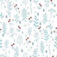 padrão sem emenda do ramo de bagas de inverno. baga azevinho rowan fundo natal azul claro. vetor