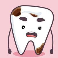 o dente sofre de cárie. dente virado vetor