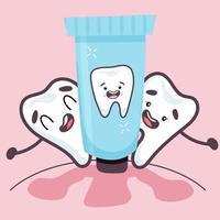 dentes elegantes ficam felizes com pasta de dente. ilustração vetorial em estilo simples vetor
