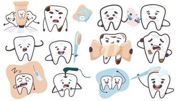 conjunto de dentes bonitos. conceito de odontologia de exame odontológico. ilustração vetorial em estilo simples, isolado no fundo. vetor