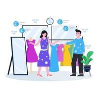 ilustração em vetor plana de uma loja de roupas e boutique com pessoas lidando para comprar roupas e acessórios