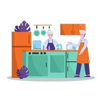 ilustração em vetor plana do chef prepara bem a comida para os compradores em restaurantes