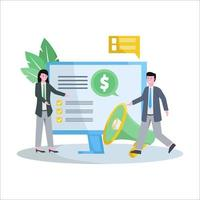 ilustração em vetor plana de marketing de afiliados promove produtos e obtém um banco de dados e receitas fantásticos
