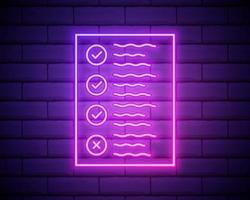 área de transferência de linha de néon brilhante com o ícone de lista de verificação isolado no fundo da parede de tijolo. símbolo da lista de controle. inquérito inquérito ou formulário de feedback do questionário. ilustração vetorial isolada na parede de tijolos. vetor