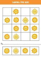 jogo de sudoku para crianças com lindos sóis kawaii. vetor