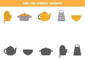 encontre a sombra correta dos utensílios de cozinha. jogo para crianças. vetor