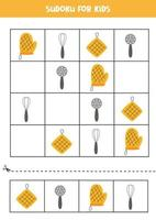jogo de sudoku para crianças com utensílios de cozinha. vetor