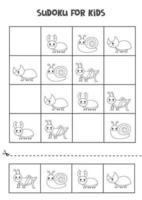 jogo de sudoku para crianças com insetos bonitos em preto e branco. vetor