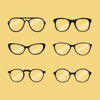 armações de óculos. silhuetas de óculos, armações de óculos, armação de lente óptica, óculos hipster. vetor
