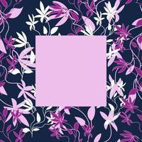 modelo de quadro floral para fotos, pôsteres e banners, flores exóticas encaracoladas em tons de rosa e roxo, estilo de desenho à mão vetor