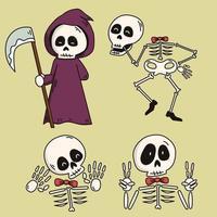 esqueleto feliz do dia das bruxas e ceifador vetor