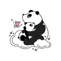 cartão do dia do pai com o panda. vetor
