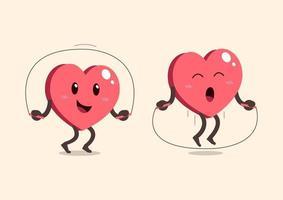 personagem de desenho animado de coração pulando corda vetor
