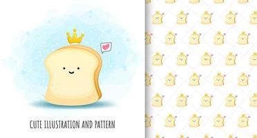 ilustração de pão fofo e vetor de padrão premium