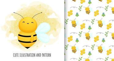 ilustração de abelha fofa e vetor de padrão premium