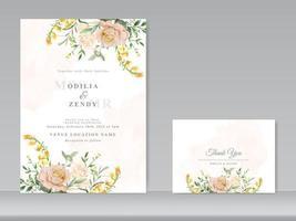 lindo conjunto de cartão de convite de casamento em aquarela floral vetor