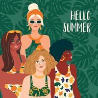 ilustração em vetor de mulher de maiô brilhante. jovens com diferentes cores de pele.