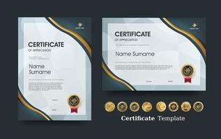 modelo de certificado de apreciação e design de emblemas premium de luxo. vetor