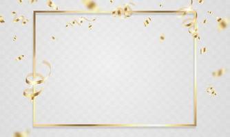modelo de plano de fundo de celebração com fitas de confete ouro. cartão rico de saudação de luxo. vetor