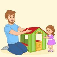 família feliz, jovem pai e sua filhinha vetor