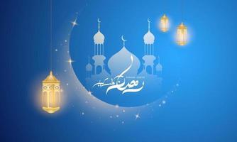 fundo ramadan kareem. ilustração vetorial com mesquita e lua, lugar para cartão de texto e banner vetor
