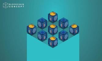 conceito de tecnologia de block chain, análise de dados para investidores, soluções de marketing ou desempenho financeiro. conceito de estatísticas de criptomoeda, ilustração vetorial isométrica de design plano moderno vetor