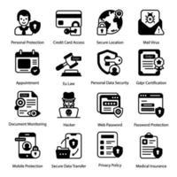 conjunto de ícones de designs editáveis gdpr vetor
