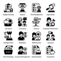 conjunto de ícones de gerenciamento de trabalho e RH vetor