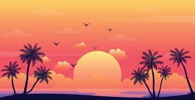 pôr do sol realista do mar no fundo das palmeiras - vetor