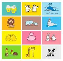 conjunto de animais bebê e mamãe vetor