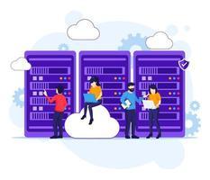 conceito de computação em nuvem, pessoas que trabalham no laptop e no servidor, armazenamento digital, data center. ilustração vetorial vetor