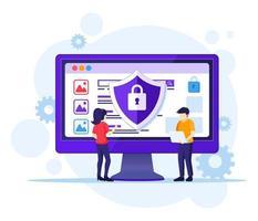 conceito de segurança do computador, as pessoas trabalham na tela protegendo dados e arquivos. ilustração vetorial vetor