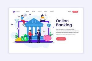 conceito de design de página de destino de banco on-line, investimento financeiro on-line com personagens. ilustração vetorial vetor