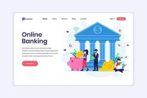 conceito de design de página de destino de banco on-line, investimento financeiro on-line. ilustração vetorial vetor
