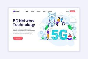 conceito de design da página de destino da 5ª tecnologia de rede. pessoas usando 5g de conexão sem fio de alta velocidade. ilustração vetorial vetor