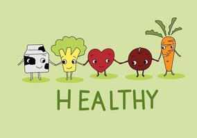 desenho vetorial de frutas saudáveis vetor