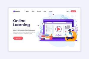 conceito de design de página de destino de aprendizagem on-line, um homem aprendendo on-line em casa. ilustração vetorial vetor