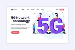 conceito de design da página de destino da 5ª tecnologia de rede. pessoas com símbolo 5g gigante usando 5g de conexão sem fio de alta velocidade. ilustração vetorial vetor